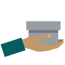 An illustrated hand holding out a gray box.